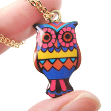 Owl Bird Shaped Aztec Print Illustrated Resin Pendant Necklace