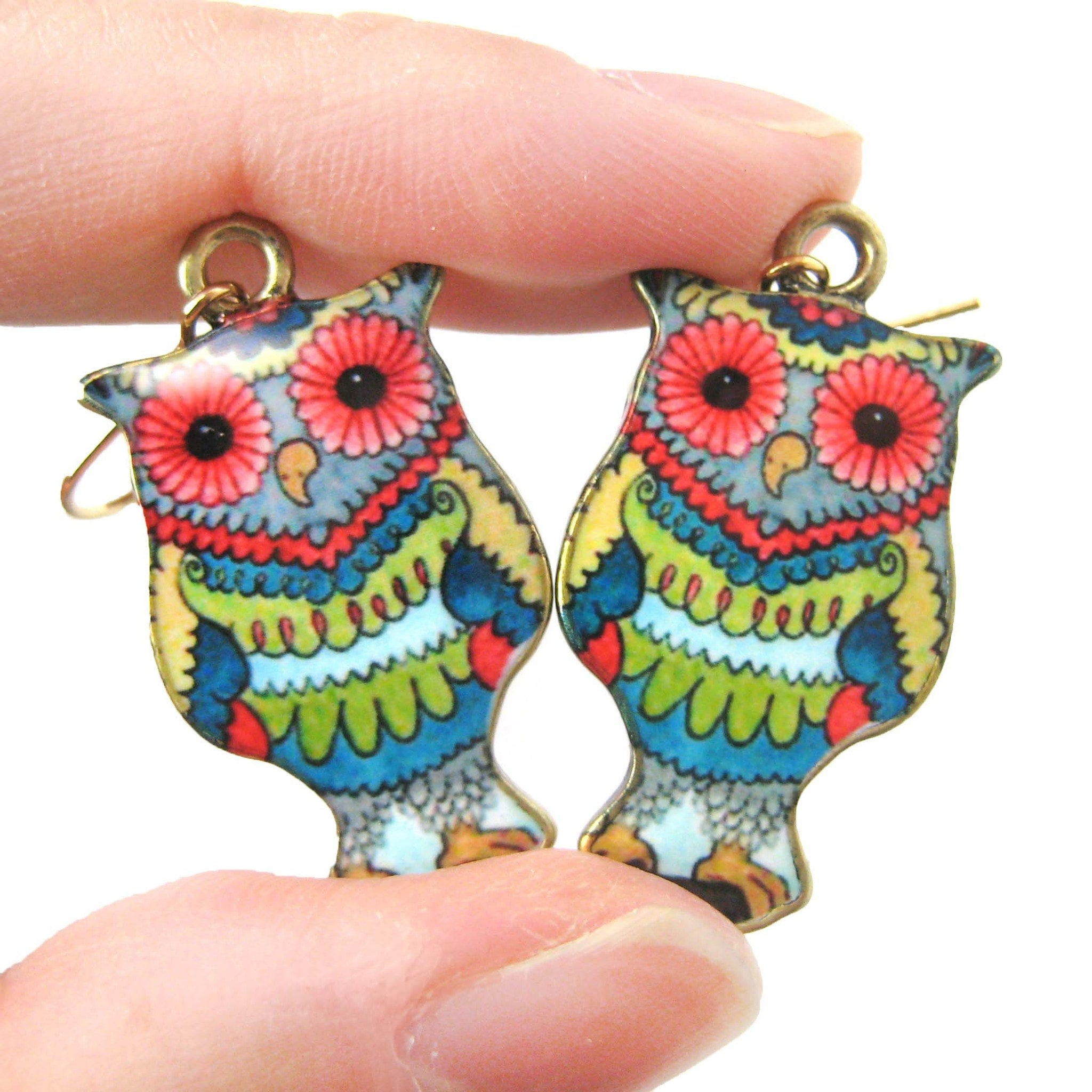 Owl Bird Shaped Floral Abstract Illustrated Resin Dangle Earrings