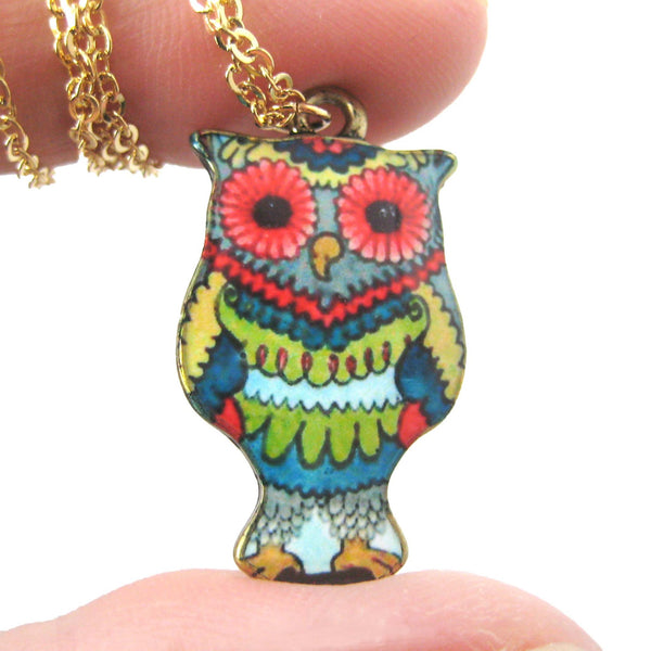 Owl Bird Shaped Floral Abstract Illustrated Resin Pendant Necklace | DOTOLY