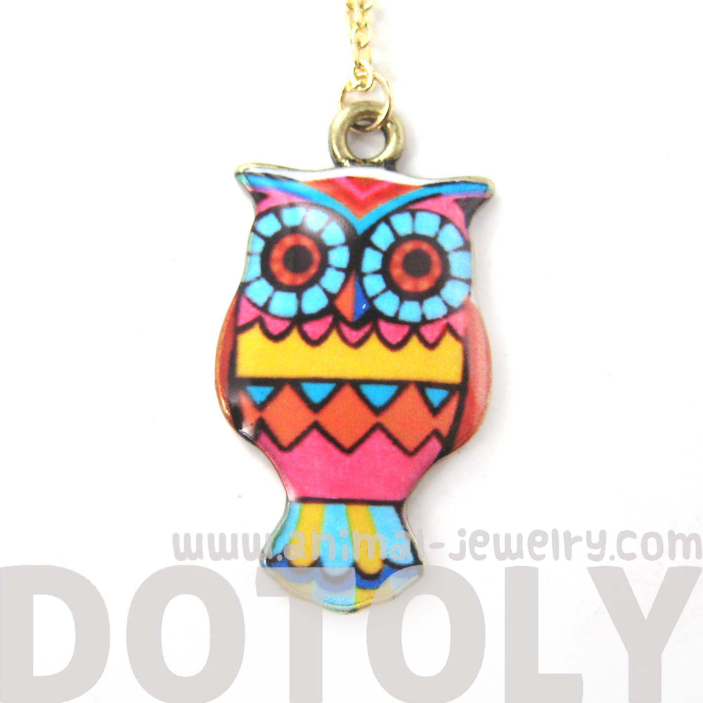 Owl Bird Shaped Geometric Print Illustrated Resin Pendant Necklace