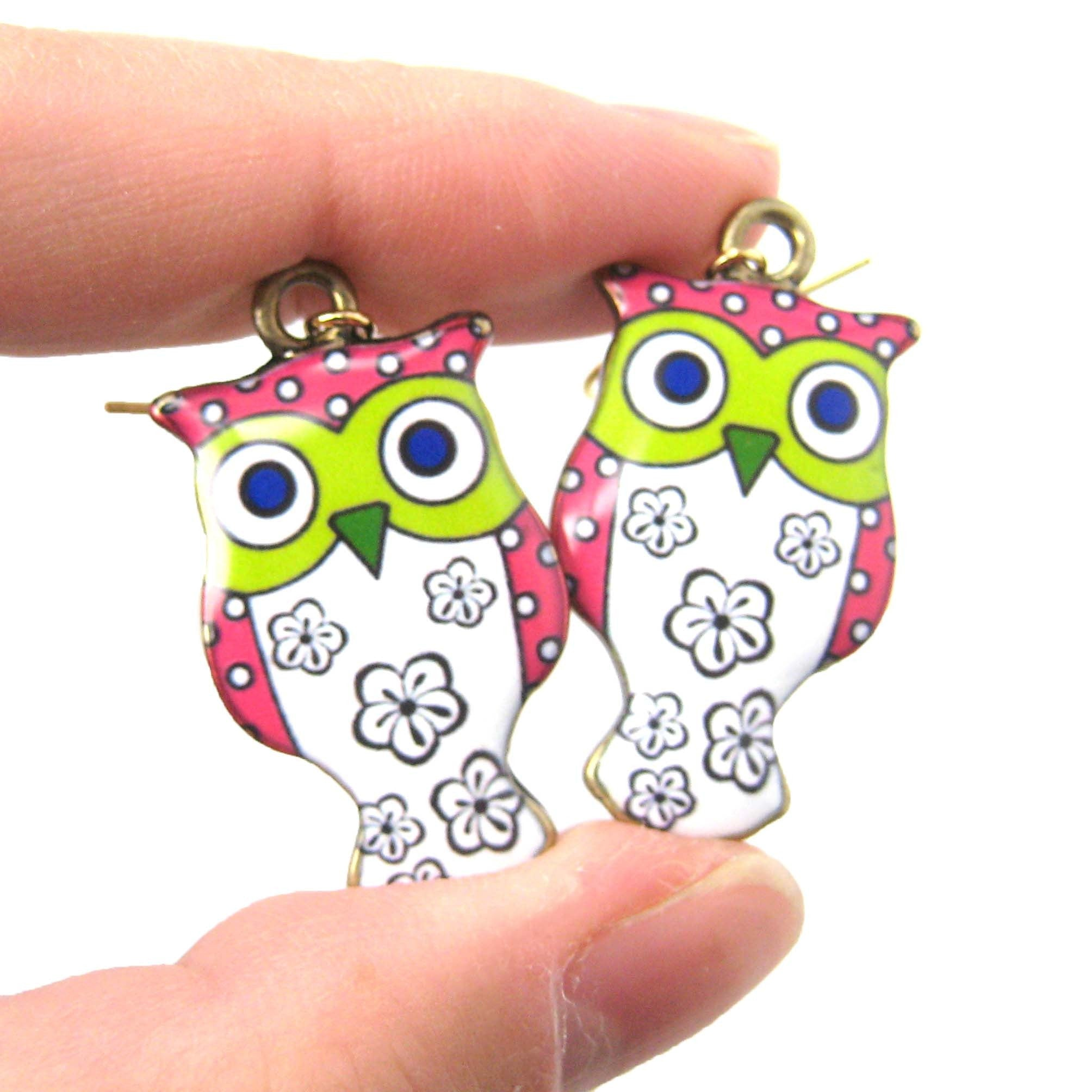 Owl Bird Shaped Illustrated Resin Dangle Earrings In Pink and White