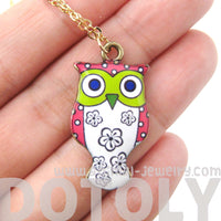 Owl Bird Shaped Illustrated Resin Pendant Necklace in Pink and White
