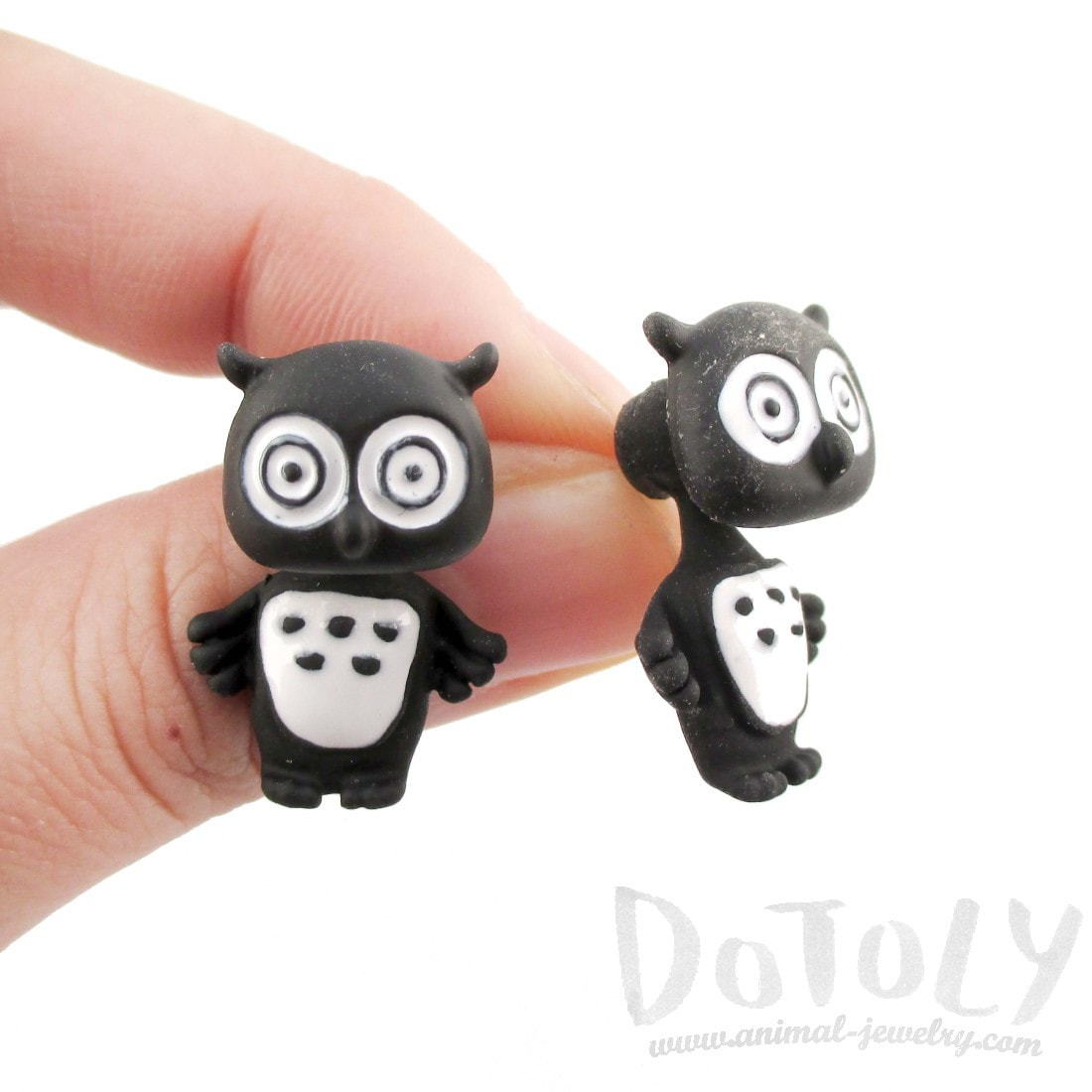 Owl Shaped Two Part Stud Earrings in Black and White