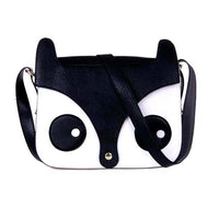 Owl Fox Face Shaped Animal Themed Cross Body Shoulder Bag in Black