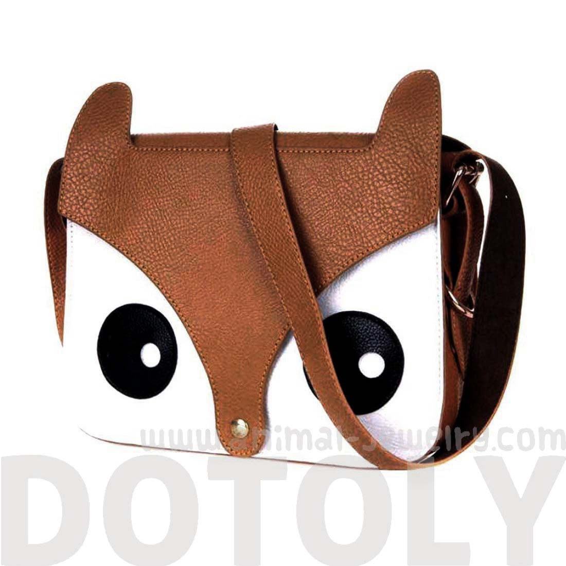 Owl Fox Face Shaped Animal Themed Cross Body Shoulder Bag in Brown