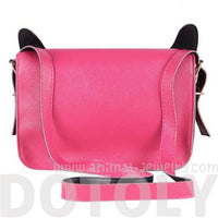 Owl Fox Face Shaped Animal Themed Pink X body Shoulder Bag for Women