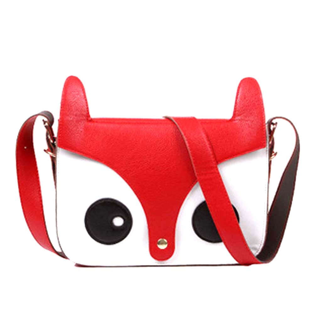 Owl Fox Face Shaped Animal Themed Cross Body Shoulder Bag in Red