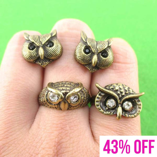 Owl Inspired Animal Ring and Stud Earring 3 Piece Set in Brass