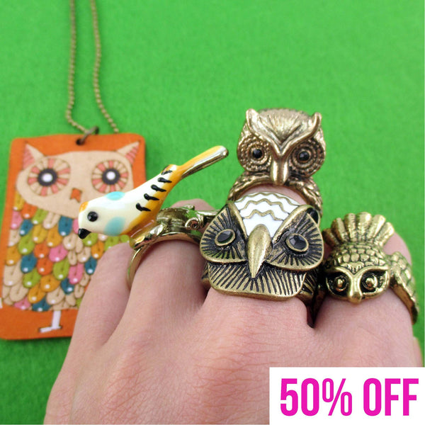 Owl Inspired Rings and Hand Drawn Pendant Necklace 5 Piece Set