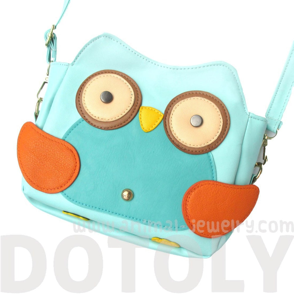 Owl Shaped Animal Bird Themed Cross body Bag for Women in Mint Blue