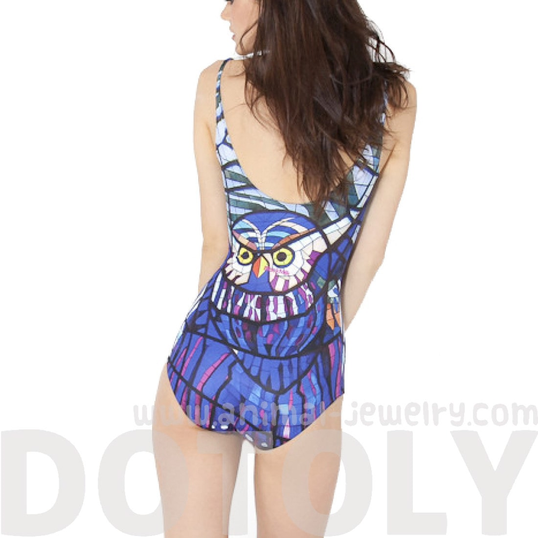 owl-stained-glass-animal-digital-print-scoop-neck-sleeveless-bodysuit-for-women-in-blue