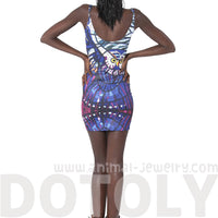 Owl Stained Glass Digital Print Scoop Neck Sleeveless Bodycon Dress