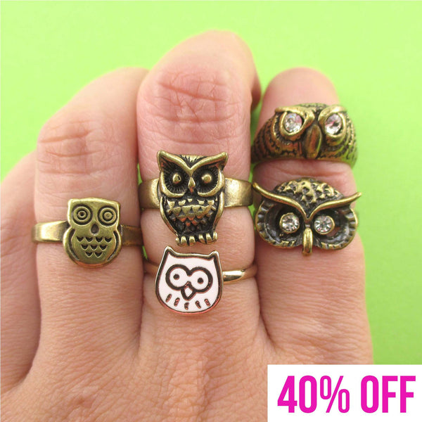 Owl Themed 5 Piece Animal Ring Set in Brass | Animal Jewelry