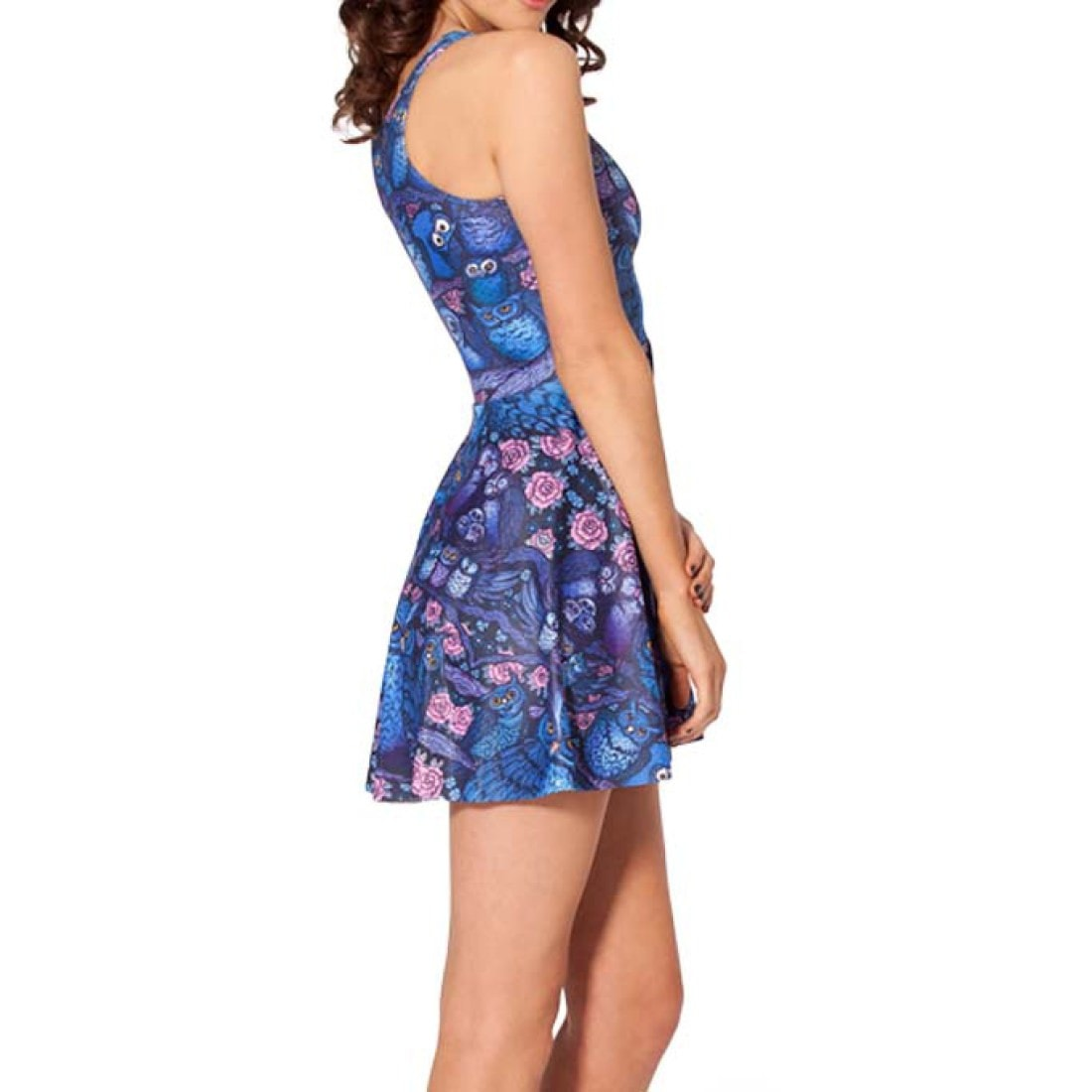 Owls and Florals All Over Print Sleeveless Skater Dress in Blue