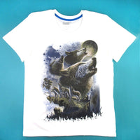 Pack of Wolves Howling at the Moon Print Graphic Tee in White | DOTOLY