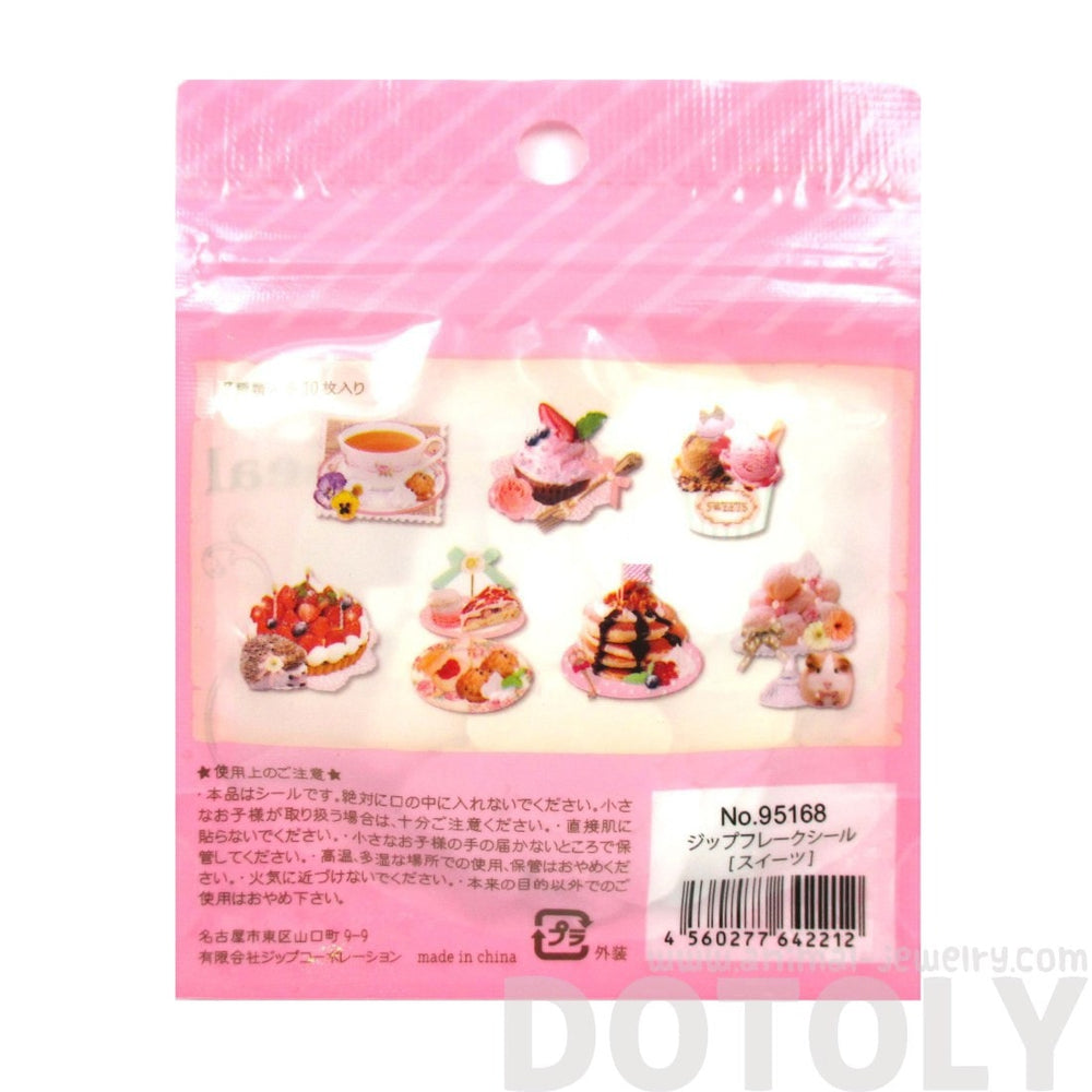 Pancakes Ice Cream Sweets Shaped Food Themed Sticker Flake Seal Pack From Japan | 70 Pieces | DOTOLY