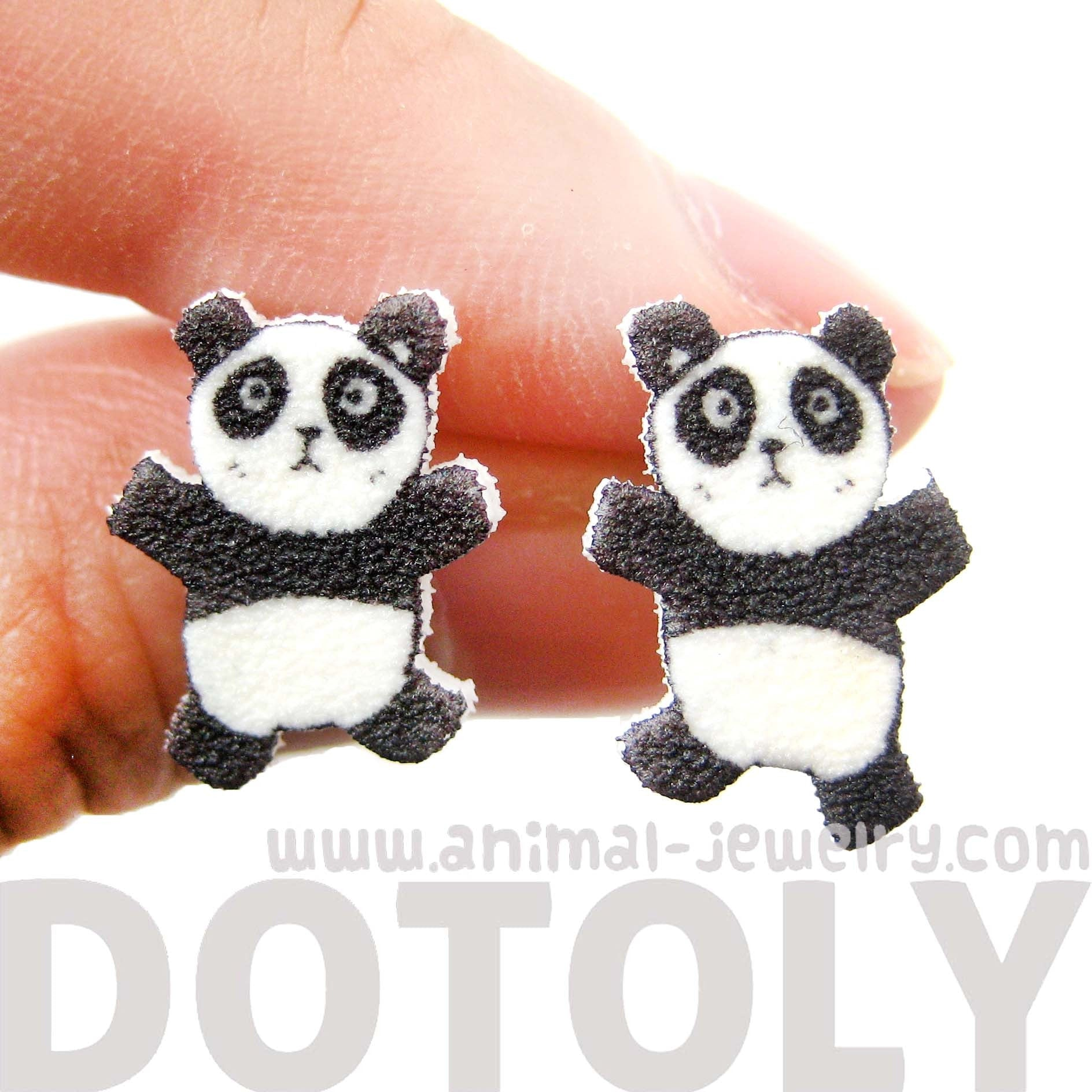 Panda Bear Animal Cartoon Illustrated Stud Earrings | Handmade
