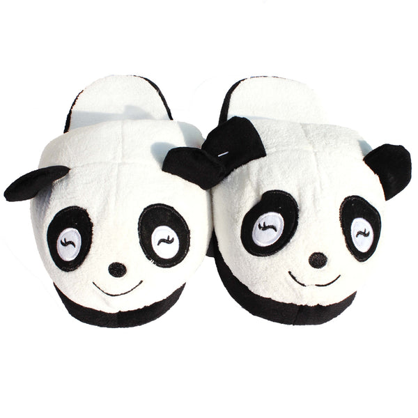 Panda Bear Animal Shaped Slip-On At Home Plush Slippers for Women