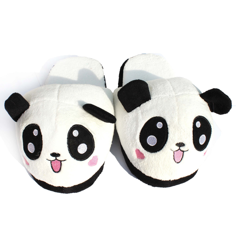 Panda Bear Animal Shaped Slip-On Plush Slippers for Women With Large Anime Eyes