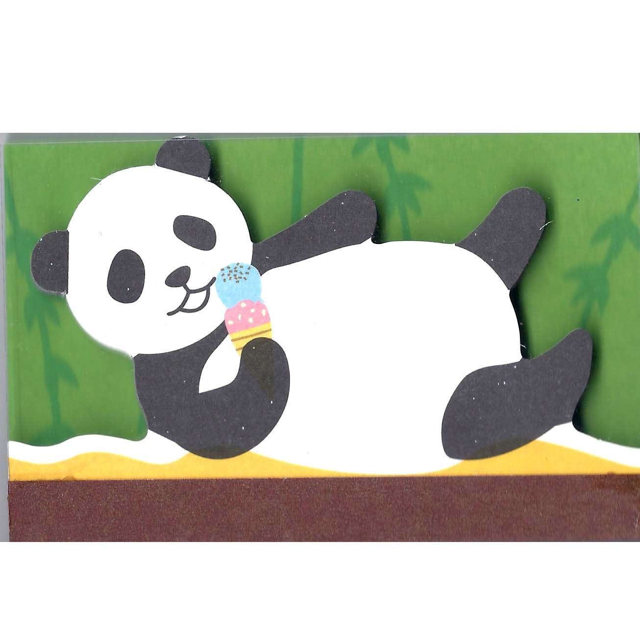 Panda Bear Eating Ice Cream Animal Shaped Memo Lined Notepad | DOTOLY