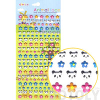 Panda Bear Face Shaped Animal Themed Floral Puffy Stickers for Kids
