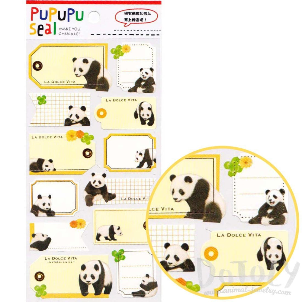 Panda Bear Photo Label Index Stickers for Scrapbook