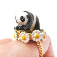Baby Panda Bear Shaped Ceramic Porcelain Handmade Animal Ring in Gold