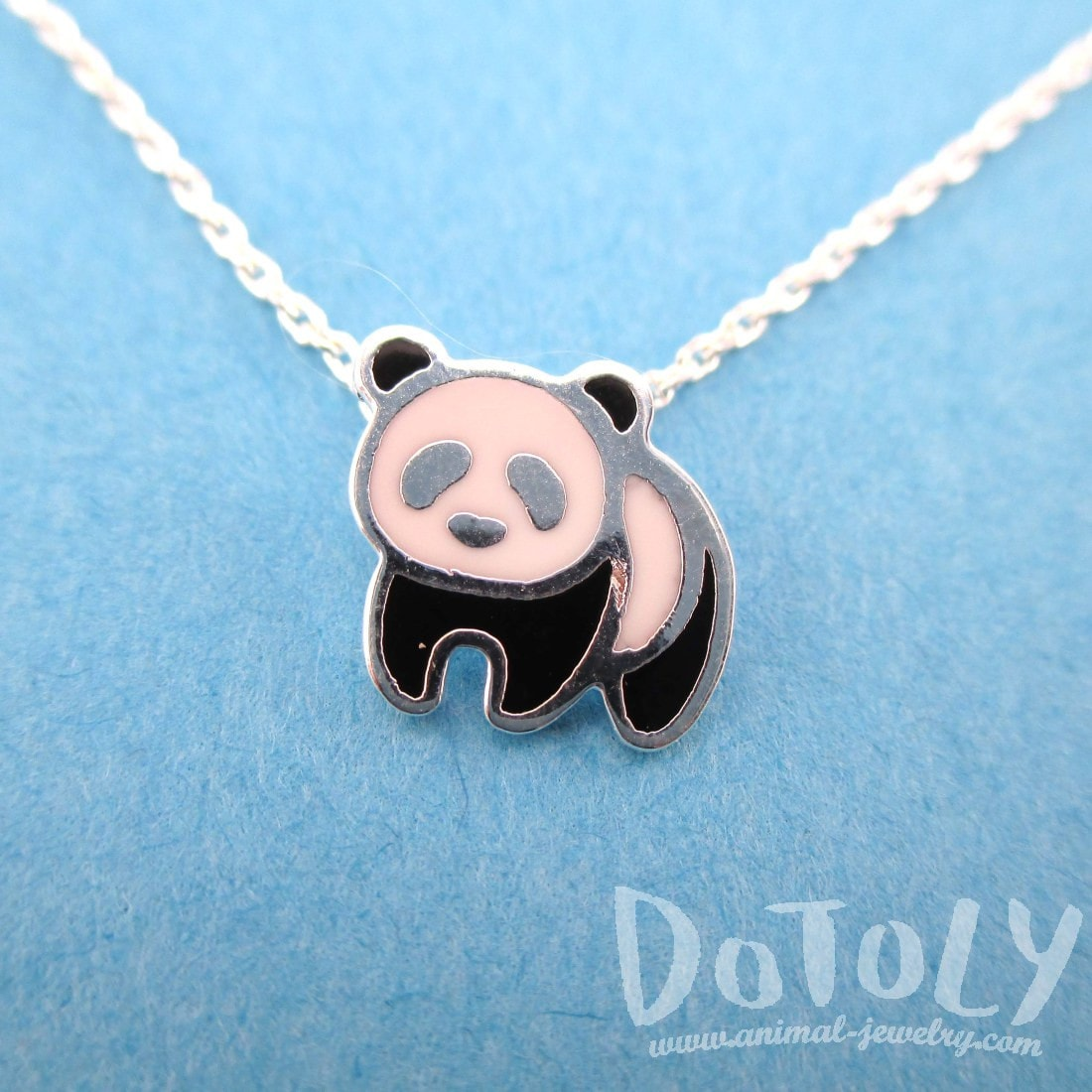 Panda Bear Shaped Enamel Charm Necklace in Silver | Animal Jewelry