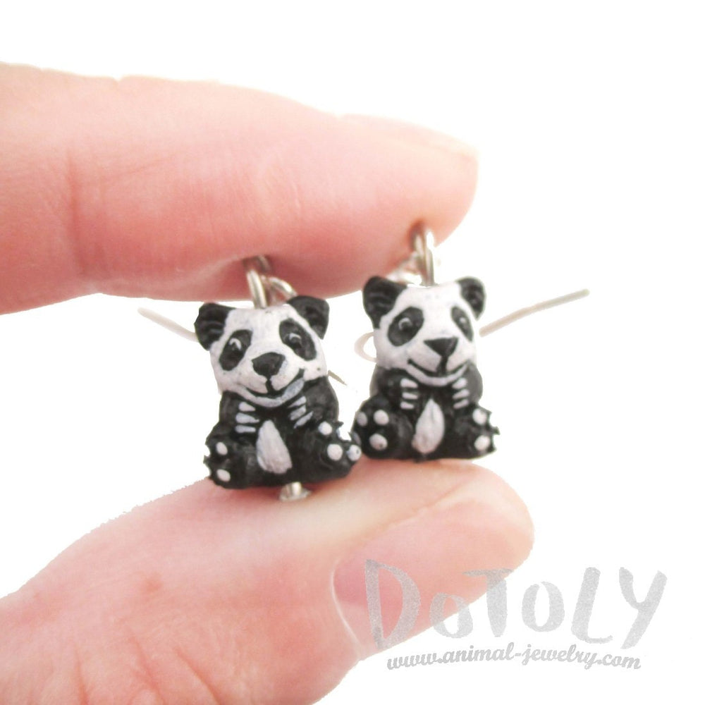 Panda Bear Shaped Porcelain Ceramic Animal Dangle Earrings | Handmade