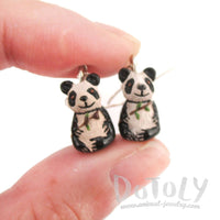 Panda Bears Holding Bamboo Shaped Porcelain Ceramic Dangle Earrings