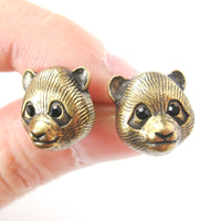 panda-teddy-bear-realistic-animal-stud-earrings-in-brass-animal-jewelry