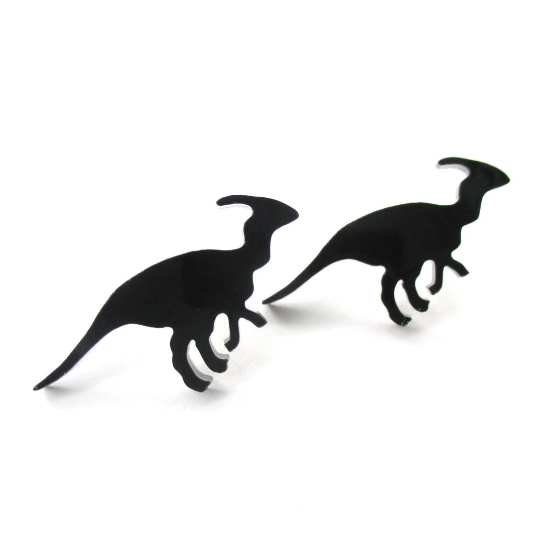 Parasaurolphus Silhouette Dinosaur Shaped Laser Cut Stud Earrings