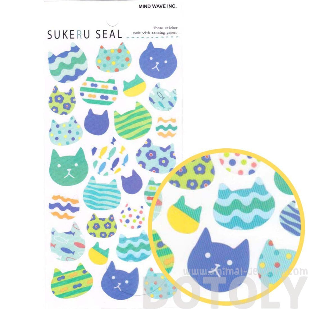 Patterned Kitty Cat Face Silhouette Shaped Stickers