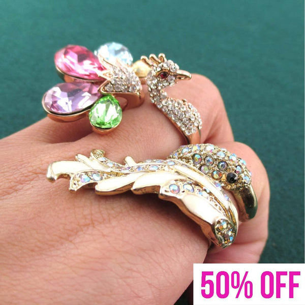 Peacock Shaped Animal Ring 2 Piece Set with Rhinestones | DOTOLY