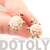 Turtle Tortoise Sea Animal Small Stud Earrings in Rose Gold with Pearls | DOTOLY
