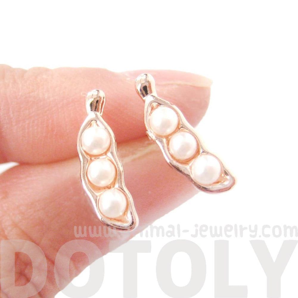 Peas in A Pod Stud Earrings in Rose Gold with Pearl Detail | DOTOLY