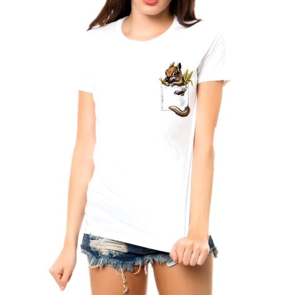 Peek a Boo Squirrel in Your Pocket Graphic Tee T-Shirt in White