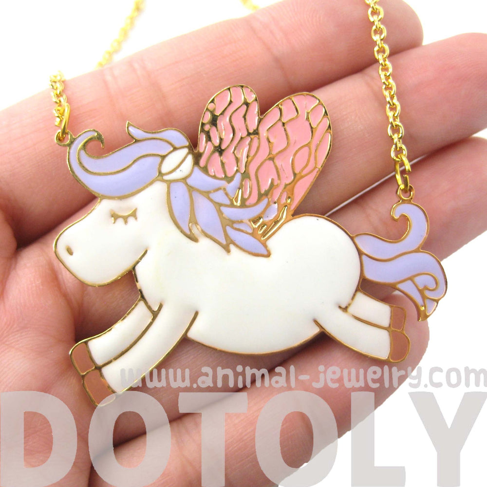 Pegasus Horse Shaped Animal Pendant Necklace in Purple and Pink | Limited Edition | DOTOLY