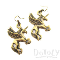 Pegasus Unicorn Horse Shaped Charm Dangle Earrings in Brass | DOTOLY