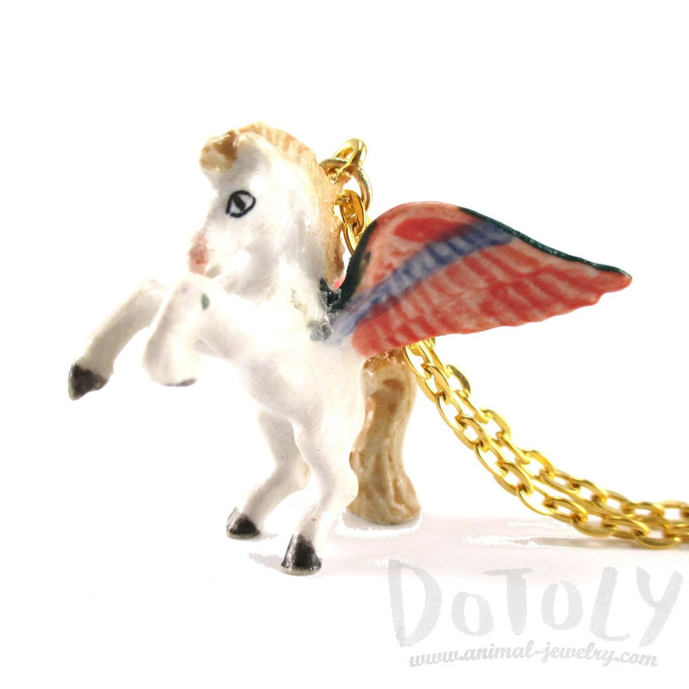 Pegasus White Horse with Wings Shaped Ceramic Animal Pendant Necklace