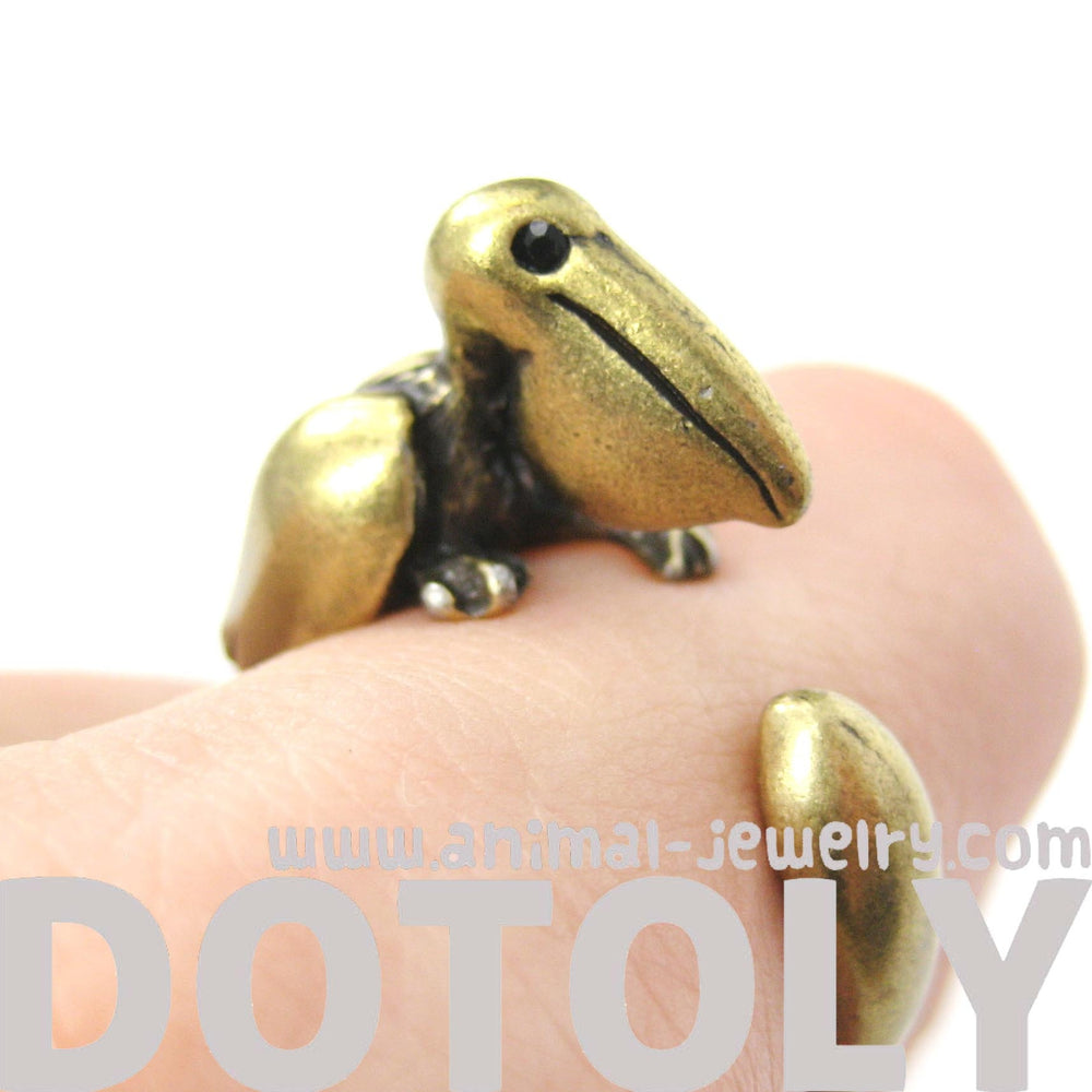 Pelican Bird Shaped Animal Wrap Around Ring in Brass | Sizes 4 to 9 Available | DOTOLY