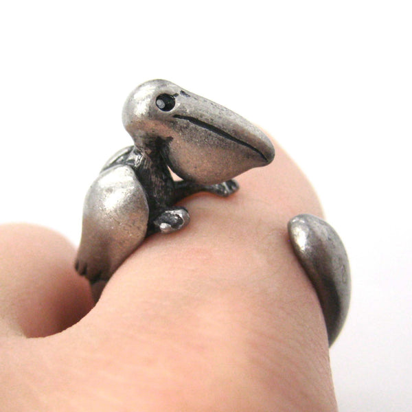 Pelican Bird Shaped Animal Wrap Around Ring in Silver | Sizes 4 to 9