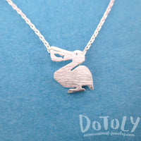 Pelican Silhouette with Fish Cut Out Shaped Charm Necklace in Silver