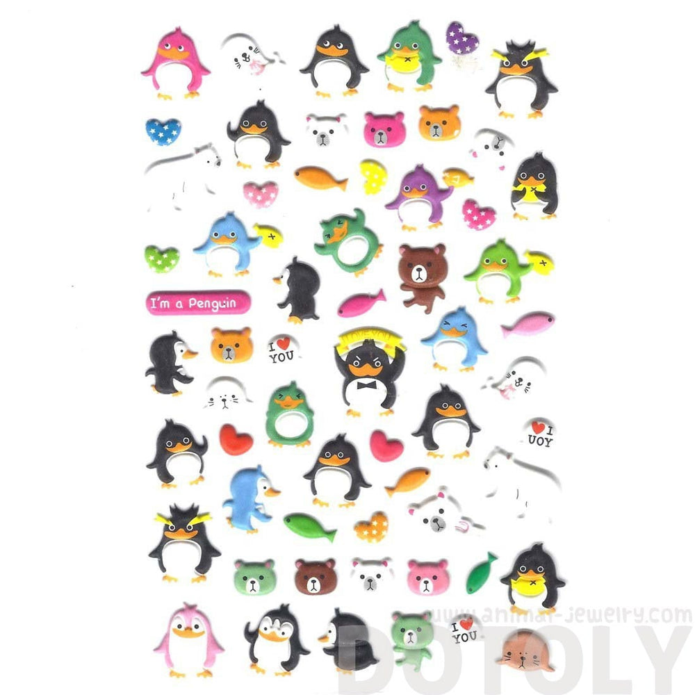 Penguin and Teddy Bear Shaped Funny Cartoon Animal Puffy Stickers