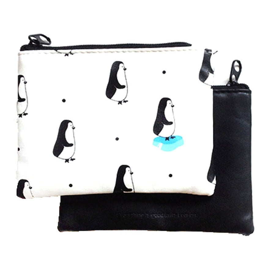 penguin-bird-animal-print-wallet-coin-purse-makeup-bag-in-black-and-white