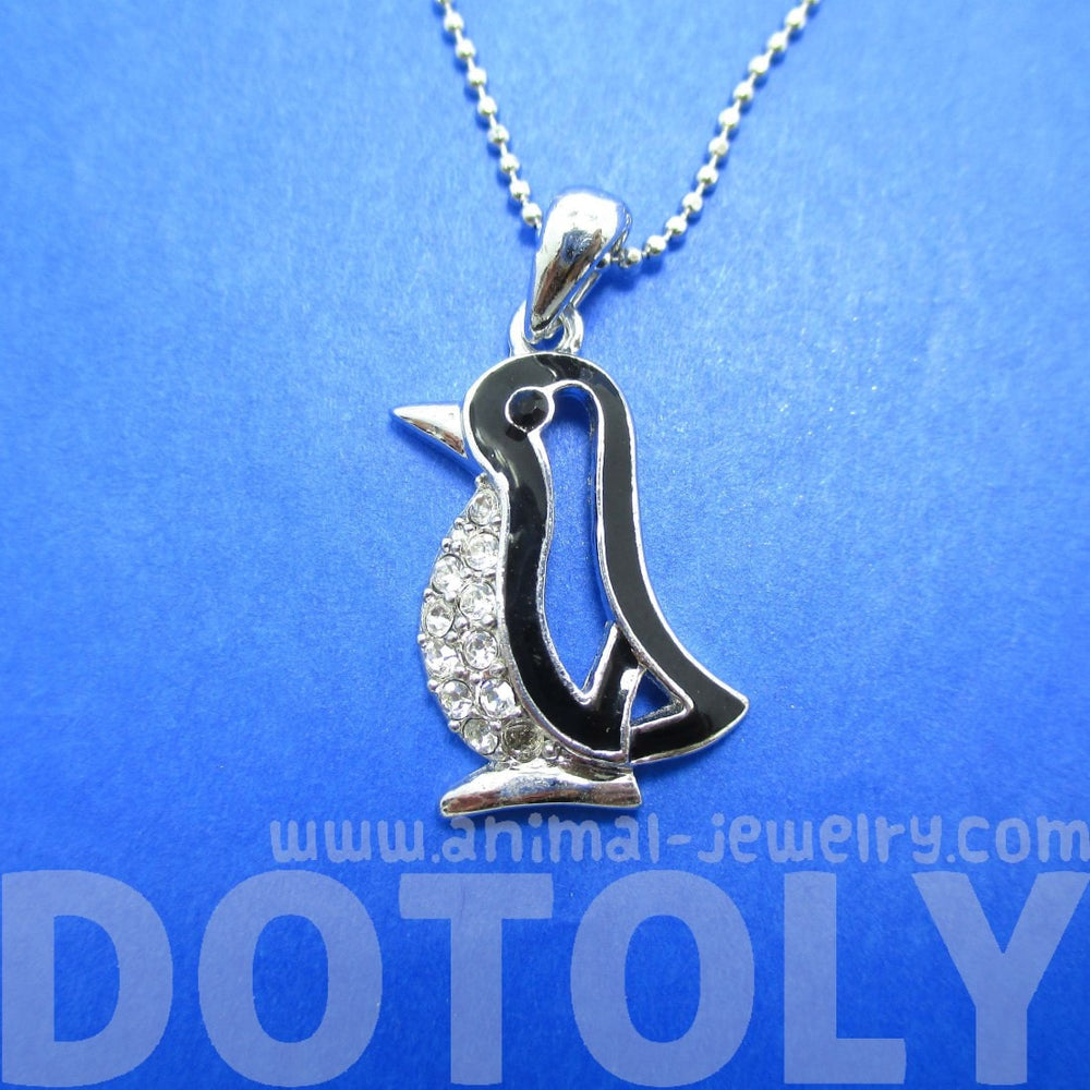 Penguin Outline Shaped Silver Animal Pendant Necklace