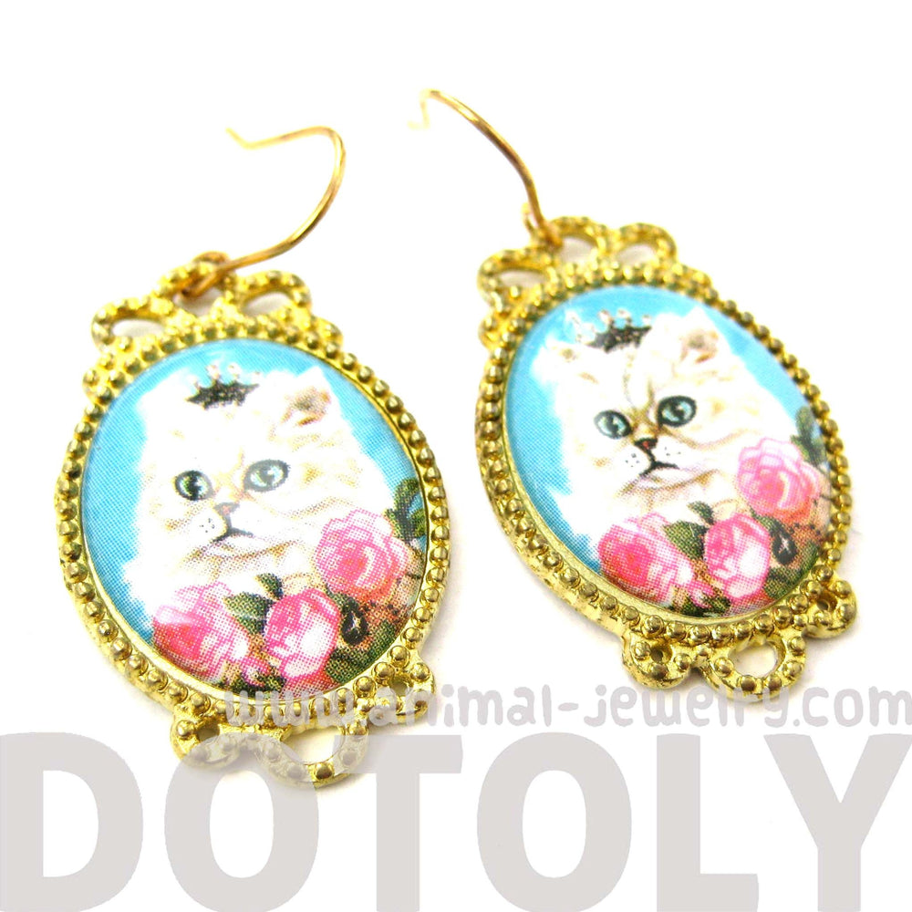 Persian Kitty Cat Portrait Illustrated Dangle Earrings with Roses | Animal Jewelry | DOTOLY