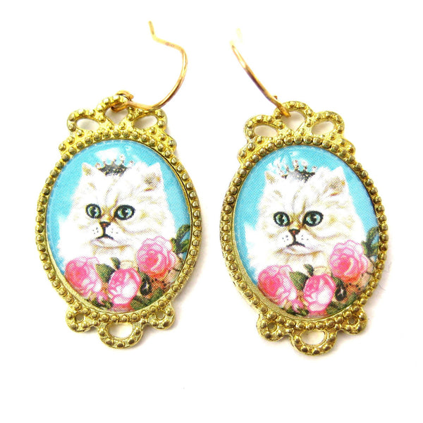 Persian Kitty Cat Portrait Illustrated Dangle Earrings with Roses