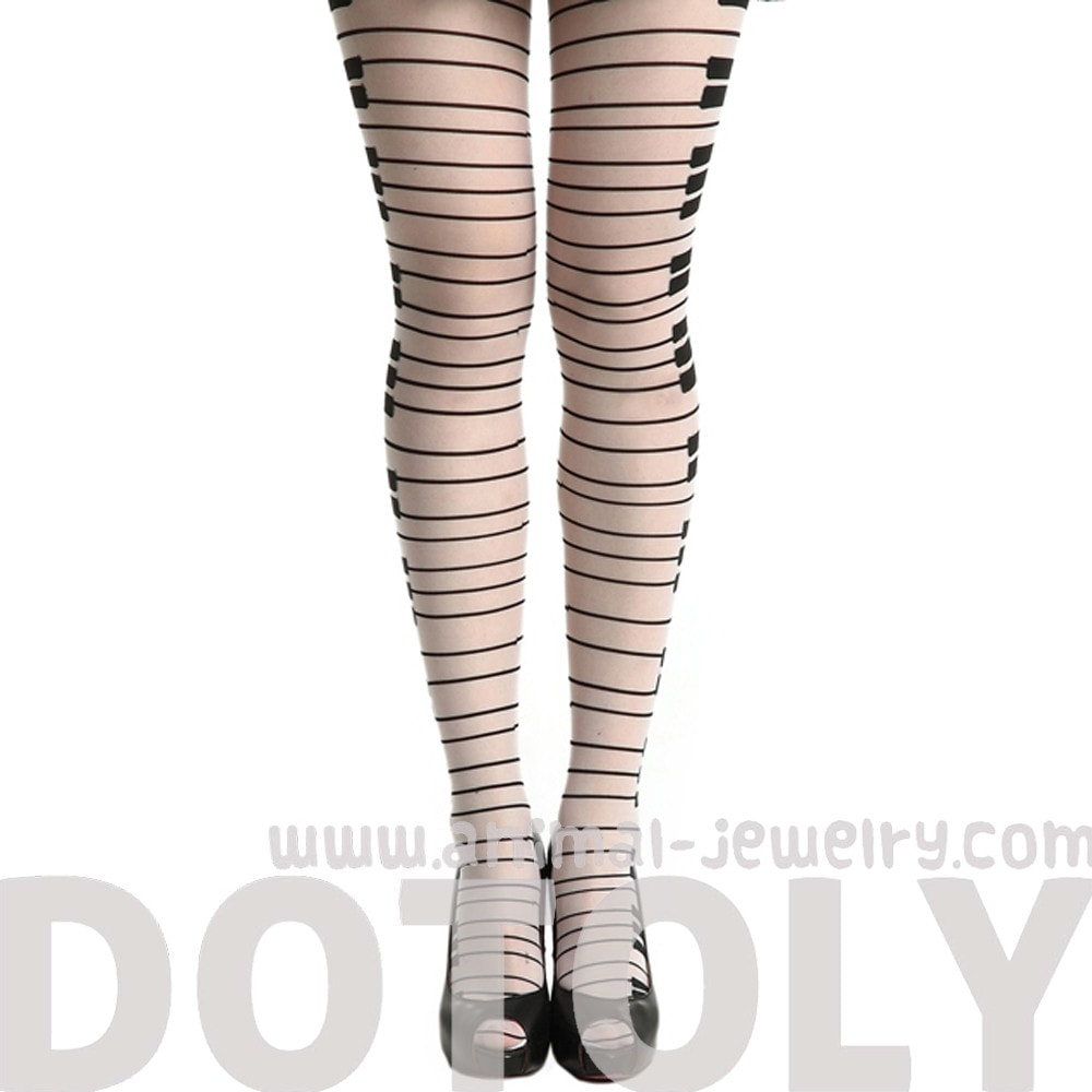 Piano Key Musical Themed Sheer White Stocking Pantyhose Tights for Women