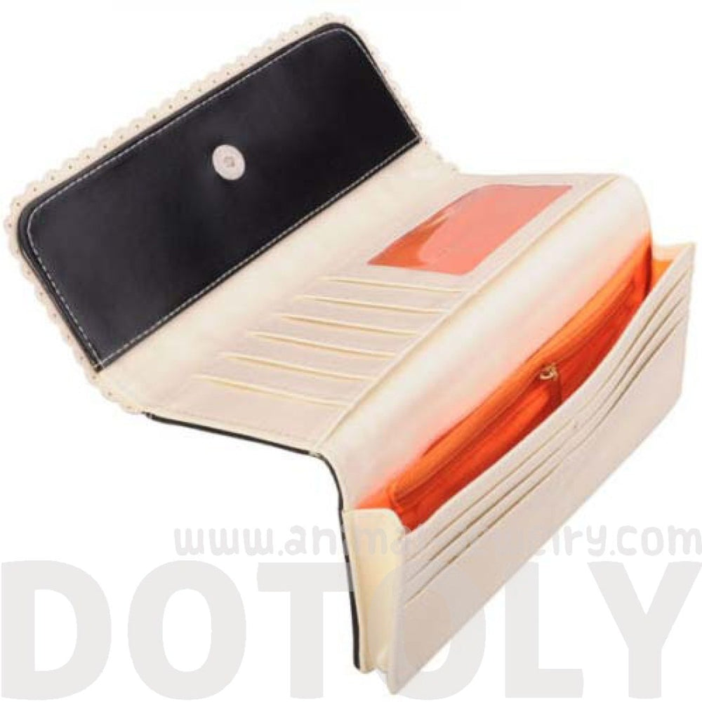 Piano Keyboard Music Notes Shaped Bi-Fold Clutch Long Wallet for Women